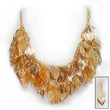 Golden Leaf Necklace and Earrings Ensemble