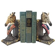 Serengeti Soiree Giraffe and Zebra Bookends