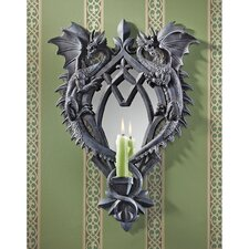 Double Trouble Gothic Dragon Mirrored Resin Candlestick