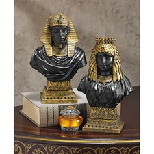 Egyptian King Rameses II and Queen Nefertari Bust Statue Set