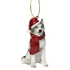 Siberian Huskey Holiday Dog Ornament Sculpture