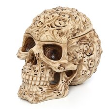 Skull's Soul Spirit Sculptural Box in Aged Bone