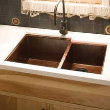 "33"" x 22"" Cocina Duet Hand Hammered Kitchen Sink"