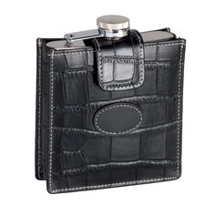 Leather Croco 5 oz. Flask in Black