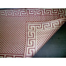 Greek Key Burgundy/Cream Rug
