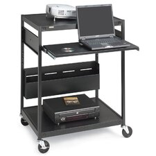 "Data Projector Cart, 4 Outlets, 20' Cord, 32""x24""x42"", Black"