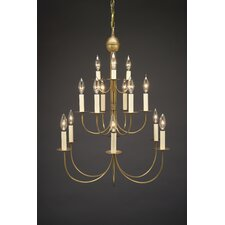 Chandelier 15 Light Candelabra Sockets J-Arms Hanging Chandelier