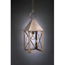 York Medium Base Socket Pyramid Top X-Bars 1 Light Hanging Lantern