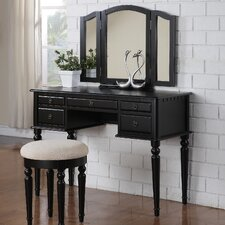 Bobkona St. Croix Bedroom Vanity Set with Stool in Black