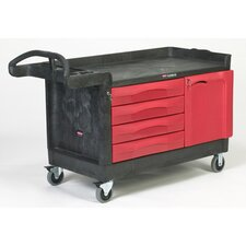 Trade Master Cart with 1 Shelf in Black