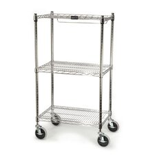 ProSave Shelf Ingredient Bin Cart with 3 Shelves in Chrome
