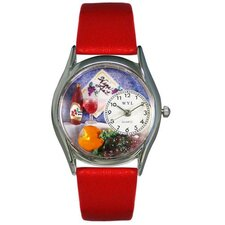 "Women""s Wine and Cheese Red Leather and Silvertone Watch in Silver"