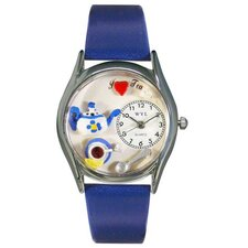 "Women""s Tea Lover Royal Blue Leather and Silvertone Watch in Silver"