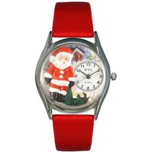 Women's Christmas Santa Claus Red Leather and Silvertone Watch in Silver