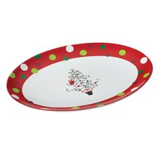 "Hoot's Decorated Tree 10"" Oval Platter"