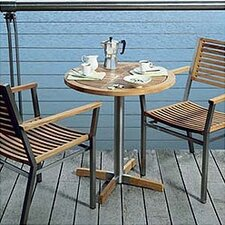 Equino Circular Steel and Teak Bistro Table
