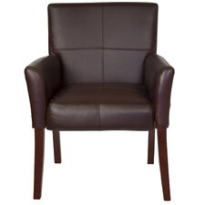 Leather Executive Guest Side Chair  with Mahogany Legs