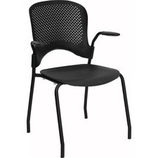 Hercules Series Perforated Stacking Side Chair with Arms in Black