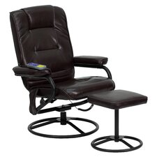 Faux Leather Heated Reclining Massage Chair and Ottoman