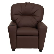 Contemporary Kid's Vinyl Recliner with Cup Holder