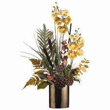 "34"" Cattail, Fern and Phalaenopsis with Ceramic Vase"