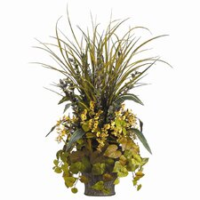 Oncidium, Grass, Potato Leaf in Wood Container