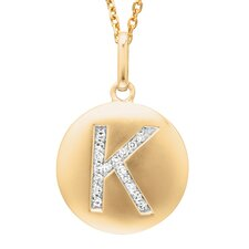 Round Initial K Pendant in Yellow Gold