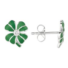 Sterling Silver and Enamel 4 Leaf Clover Earring