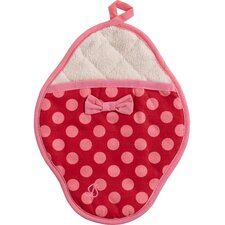 Red and Pink Polka Dot Scalloped Pot Mitt