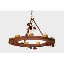 Ponderosa Pine 9 Light Candle Steel Creek Chandelier