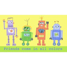 Frineds Come in All Colors Robot Wall Art