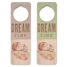 """Dream Time"" Wooden Doorknob Sign in Distressed Green"