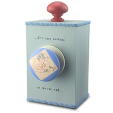 """I Have Been Working On The Railroad"" Wind Up Music Box in Distressed Blue"