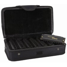 Piedmont Blues Harmonica Set in Black with Gold Trim - Key of A, B, C, D, E, F, G