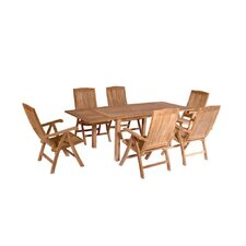 Bahama 7 Piece Rectangular Extension Table Set with Katana Recliner Folding Armchair