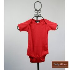 Short Sleeve Infant Bodysuit in Red