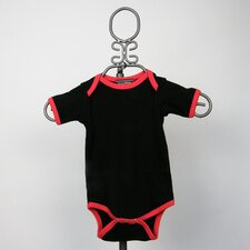 Short Sleeve Infant Bodysuit in Black with Red Trim