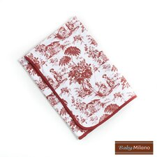 Baby Blanket in Burgundy Toile