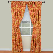 Archival Urn Cotton Rod Pocket Window Curtain Single Panel with Tieback