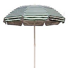 6' Solar Reflective Striped Beach Umbrella