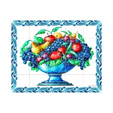 Fruit Vase Kitchen Tile Mural in Multi-Colored