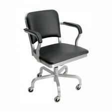 Navy Mid-Back Upholstered Swivel Office Chair with Arms
