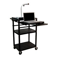 Plastic Presentation Station in Black with Laptop Shelf