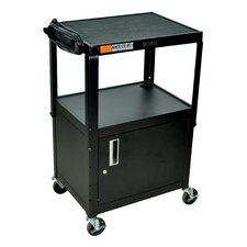 Adjustable Height Cabinet Table with Casters