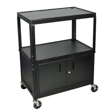 Extra Wide AV Cart with Cabinet