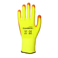 Polyurethane Coated Hi Vis Work Gloves - Large (Pack of 2)