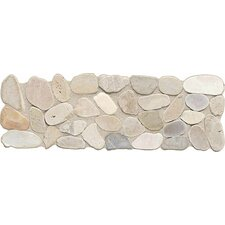 "Highland Ridge 12"" x 4"" Decorative Border Tile in Light Riverstone Pebble"