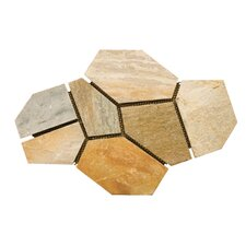 "Natural Stone 20"" x 30"" Slate Flagstone Pattern Tile in Golden Sand"