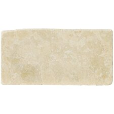 "Natural Stone 4"" x 8"" Tumbled Travertine Tile in Ancient Beige"