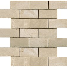 "Natural Stone 12"" x 12"" Tumbled Travertine Offset Mosaic in Ancient Beige"